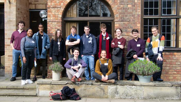 A group of students in front of Bredon House