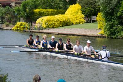 M1 rowing at spring regatta on River Cam