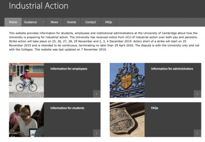 Industrial action information webpage