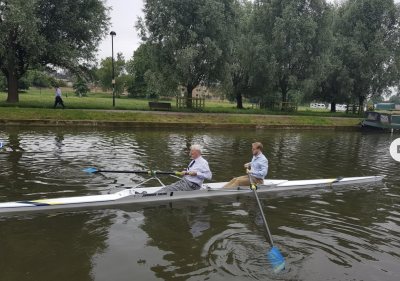Henry Rogers and Tom Hewitt rowing