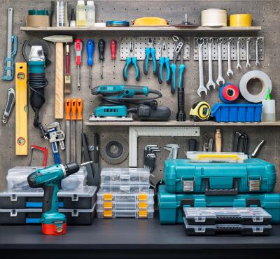 tools on tidy workbench