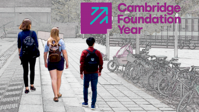 Cambridge Foundation Year logo and students
